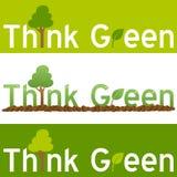 Denken Sie grüne Konzept-Fahne Stockbilder