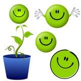 Denken Sie grüne smiley-Gesichts-Zeichentrickfilm-Figuren Stockfotografie