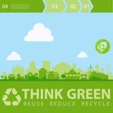 Denken Sie grüne Vektorillustration mit Kleinstadt Stockbilder