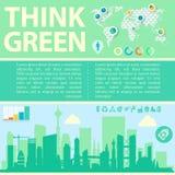 Denken Sie grüne Vektorillustration mit Stadtzentrum und Stockfotografie