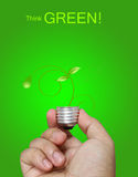 Denken Sie grünes Konzept lizenzfreie stockbilder