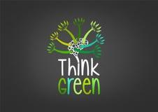 Denken Sie grünes Konzeptdesign vektor abbildung