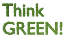 Denken Sie grünes Zeichen auf Grasökologiekonzept Lizenzfreie Stockfotos