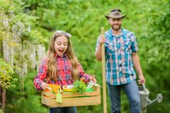 Denken Sie Gr?n G?rtner bei der Arbeit ?kologie Gartenarbeithilfsmittel neu, Stocktellersegment Fr?hlingsdorfland Familien-Bauern stockfoto