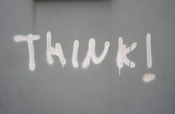 Denken Sie! Graffiti Stockbild