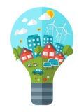 Denken Sie grüne Konzeptvektorillustration Lizenzfreie Stockbilder