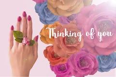 Denken an Sie - Karte Hand mit Blume stockbild