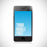 denken Sie lokalisierte Mobile das erste Smartphonezeichen Stockbilder