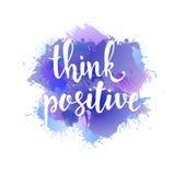 Denken Sie Positiv Hand gezeichnetes Typografieplakat lizenzfreie abbildung