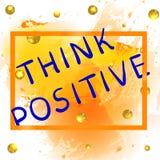 Denken Sie Positiv Mehrfarbige Aufschrift auf buntem Hintergrund mit Farbenspritzen und funkelnden goldenen Bällen Vektor vektor abbildung