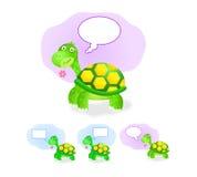 Denkend schildpadpictogram dat met praatjedoos wordt geplaatst Royalty-vrije Stock Foto