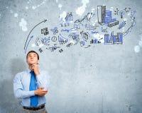 Denkende bedrijfsmens Stock Afbeelding