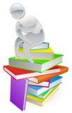 Denkende denker op boeken Royalty-vrije Stock Afbeelding
