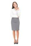 Denkende Frau auf weißem Hintergrund Lizenzfreies Stockfoto