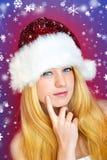Denkende Frau auf Weihnachten Lizenzfreie Stockfotografie