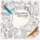 Denkende Gekritzelikonen des Bildungskonzeptes eingestellt Stockbild