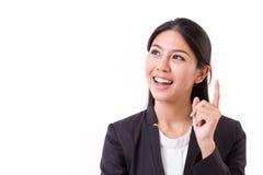 Denkende Geschäftsfrauexekutive mit guter Idee Stockfoto