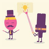 Denkende Ideenkarikatur des Geschäftsmannes Stockbild