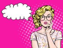 Denkende jonge sexy vrouw die met open mond omhoog op lege bel kijken Het pop-artmeisje wordt gedacht en holdingshand dichtbij he stock illustratie