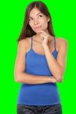 Denkende jonge vrouw Stock Fotografie