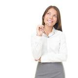 Denkende junge asiatische/kaukasische Geschäftsfrau Lizenzfreies Stockbild