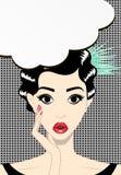 Denkende junge Brunettefrauenpop-art, Vektorillustration Lizenzfreie Stockfotografie