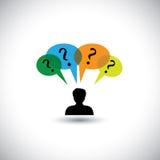 Denkende Konzeptvektorleute - Mann mit Spracheblasen u. -suche lizenzfreie abbildung