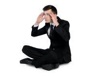 Denkende Lösung des Geschäftsmannes Stockfotos