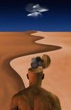 Denkende Man Woestijn Stock Afbeelding