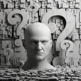 Denkende mensenstandbeeld en vraagtekens Stock Afbeeldingen