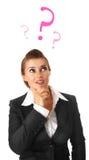 Denkende moderne Geschäftsfrau getrennt lizenzfreie stockbilder