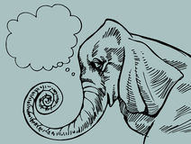 Denkende Olifant Stock Afbeeldingen