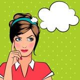Denkende pop-artvrouw Stock Afbeelding