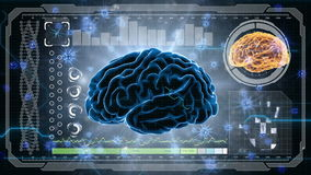 Denkende prosess Neuronsystem Menschliche Anatomie Kopfarbeit Übertragungsimpulse und Erzeugung von Informationen HUD-Hintergrund lizenzfreie abbildung