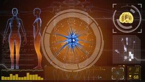 Denkende prosess Neuronsystem Menschliche Anatomie Kopfarbeit Übertragungsimpulse und Erzeugung von Informationen HUD-Hintergrund stock abbildung