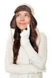 Denkende Winterfrau getrennt Stockbild