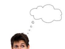 Denkende zufällige junge Frau mit der Gedankenblase lokalisiert Stockbilder
