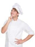 Denkender Chef-, Bäcker- oder Manneskoch Lizenzfreies Stockfoto