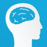 Denkender Mann, kreatives Gehirn Ideenkonzept auf einem blauen Hintergrund Lizenzfreies Stockfoto