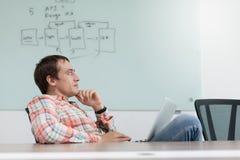 Denkender sitzender entspannender Schreibtisch des Geschäftsmannes Stockfotos