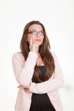 Denkendes Erwägen der Frau, Entscheidungen treffend Stockbilder