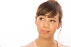 Denkendes Gesichtsporträt der Asiats-Latina-Mädchenfrau Lizenzfreies Stockbild