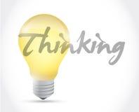 Denkendes Glühlampe-Illustrationsdesign der Idee Lizenzfreie Stockfotografie