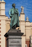 Denkmal Adam-Mickiewicz in Krakau Lizenzfreies Stockfoto