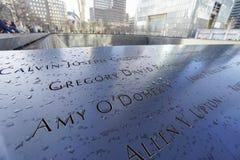 9-11 Denkmal-Brunnen am Bodennullpunkt - Welthandels-Mitte MANHATTAN - NEW YORK - 1. April 2017 Stockbild
