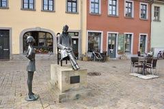 Denkmal Riedrich Nietzsche auf dem Markt-Quadrat in Naumburg stockfoto