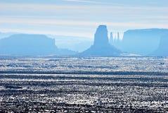 Denkmal-Tal im Schnee Stockfoto