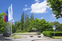 Denkwürdiges Zeichen zu den Soldattankern, Rokosovskiy-Straße, Kaliningrad Stockfotografie