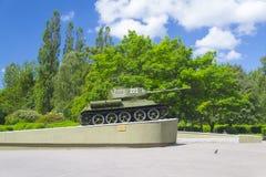 Denkwürdiges Zeichen zu den Soldattankern, Rokosovskiy-Straße, Kaliningrad Lizenzfreies Stockbild