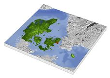 Denmark, 3D relief map. 3D Relief Map of Denmark, line of sight towards north-west Royalty Free Stock Photography